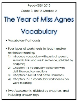 The Year of Miss Agnes Vocabulary Bundle (ReadyGEN Grade 3)