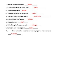 The Year of Miss Agnes Vocabulary Quiz 1
