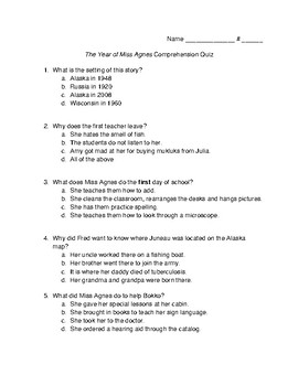 The Year of Miss Agnes Vocabulary and Comprehension Quiz