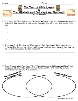 The Year of Miss Agnes and The Athabascans ReadyGen Lesson 13