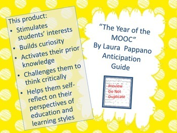 The Year of the MOOC by Laura Pappano Anticipation Guide
