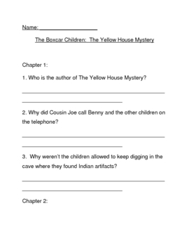 The Yellow House Mystery by Gertrude Warner Comprehension Questions