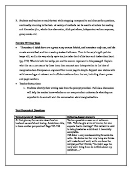 The Yellow Wallpaper: Close Reading with Text Dependent Questions