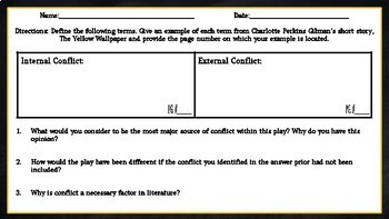 The Yellow Wallpaper: Conflict Chart Assignment/ Graphic Organizer