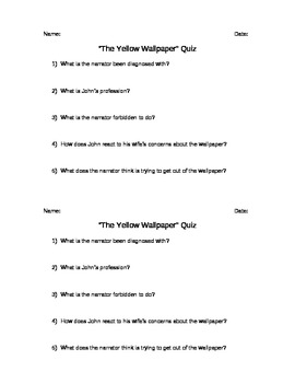 The Yellow Wallpaper Discussion Questions