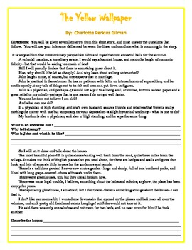 The Yellow Wallpaper Excerpts and Questions