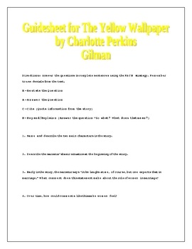 The Yellow Wallpaper Guidesheet w/ answers Perkins Gilman