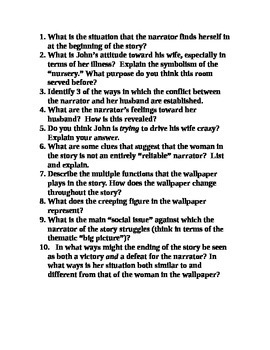 """""""The Yellow Wallpaper"""" Questions"""