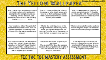 The Yellow Wallpaper Tic Tac Toe Mastery Assessment