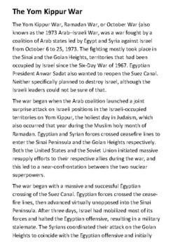 The Yom Kippur War Handout