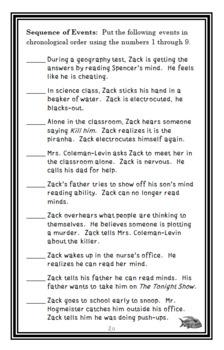 The Zack Files: Zap! I'm a Mind Reader (Dan Greenburg) Novel Study  (24 pages)