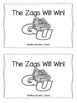 The Zags Will Win - Emergent Reader Gonzaga March Madness Free