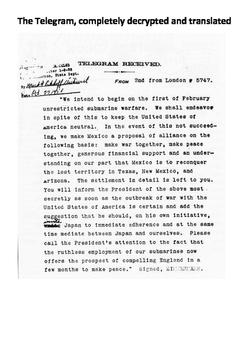 The Zimmermann Telegram 1917 Word Search
