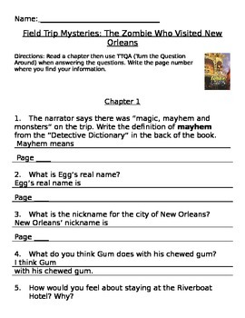 The Zombie Who Visited New Orleans: Field Trip Mystery Comprehension Packet TTQA