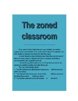 The Zoned Classroom (Overview and Signs)