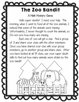 The Zoo Math Mystery Game - Adding, Subtracting, and More!