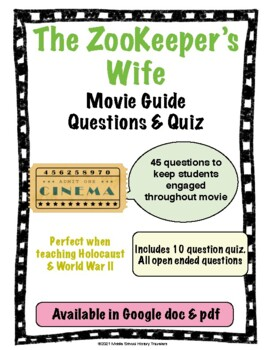 The Zookeeper's Wife Movie Guide Questions and Quiz