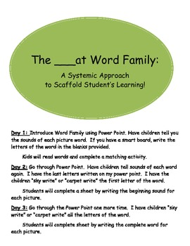 The ___at Word Family: A Systematic Approach to Scaffold Student's Learning