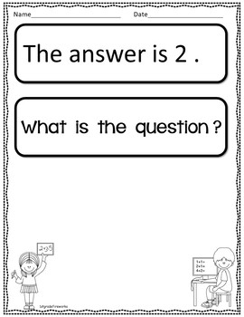 The answer is..WHAT IS THE QUESTION? Math Booklets for Open-ended Math Questions