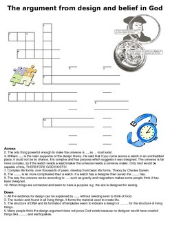 The argument from design and belief in God Crossword