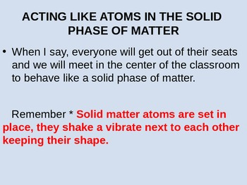 The atomic behavior of the three forms of matter - solids, liquids & gases
