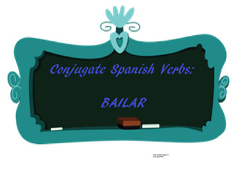 The best Spanish -AR verb conjugation worksheet BAILAR