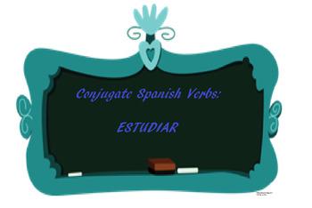 The best Spanish -AR verb conjugation worksheet ESTUDIAR