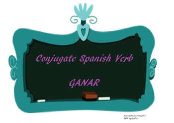 The best Spanish -AR verb conjugation worksheet GANAR
