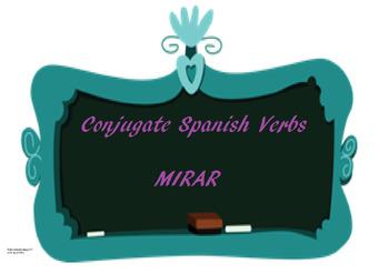 The best Spanish -AR verb conjugation worksheet MIRAR