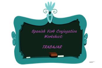 The best Spanish -AR verb conjugation worksheet TRABAJAR