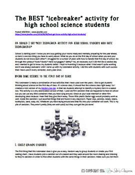 The best high school icebreaker activity