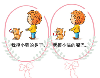 Mandarin Chinese reading The body parts pattern book (我和小猫)