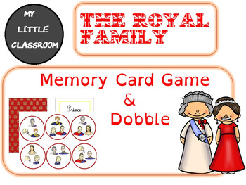 The British Royal Family: memory card game and dobble.
