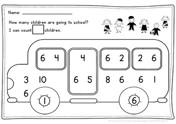 The children on the bus 1-10 NUMBER RECOGNITION & AMOUNT MATCHING