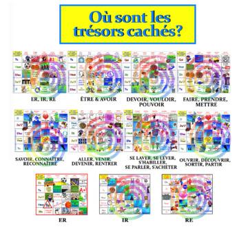 Où sont les trésors cachés? (the 10 verb games bundled together) FRENCH