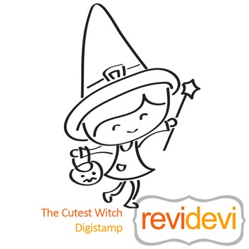 Line art - The cutest witch (digital stamp, coloring image) S024, halloween girl
