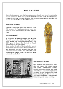 The discovery of Tutankhamun tomb reading comprehension