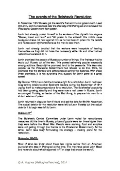 The events of the Russian Revolution October 1917 - worksheet and card sort