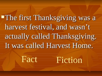 The First Thanksgiving Fact Or Fiction Game By Katie