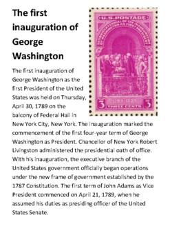 The first inauguration of George Washington Handout
