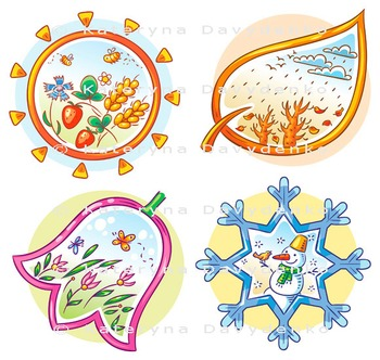 The four seasons in cartoon hand drawn pictures