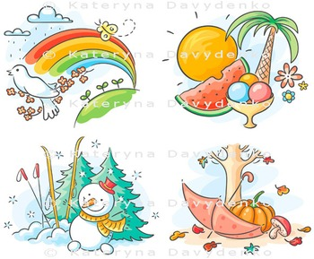 The four seasons in cartoon pictures