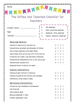 The gifted and talented checklist for teachers