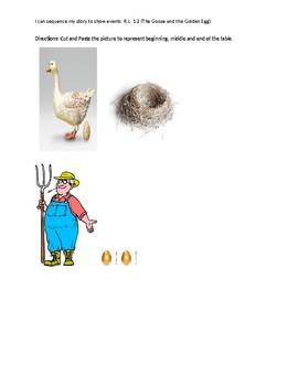 The goose and the Golden egg, sequence and writing activity.