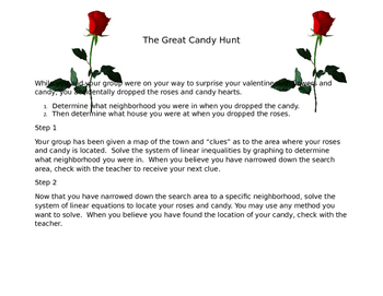 The great candy hunt, solving systems of inequalities and equations