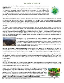 The history of Earth Day - Reading Comprehension Worksheet / Text