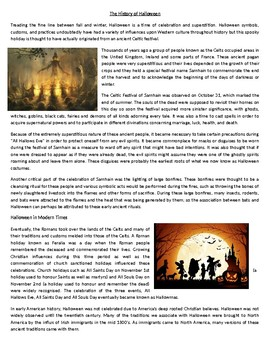 The history of Halloween - Reading Comprehension Worksheet