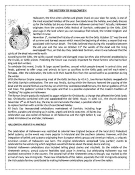 The history of Halloween - Reading Comprehension Worksheet / Vocabulary