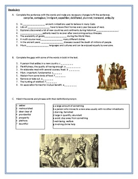 The history of Thanksgiving - Reading Comprehension Worksheet / Vocabulary