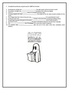 The history of trick-or-treat - Reading Comprehension/ Vocabulary Worksheet